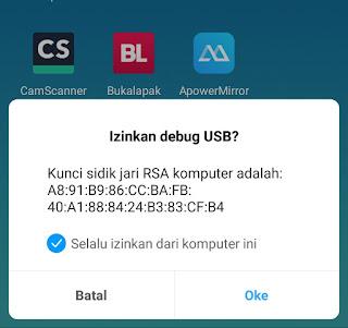 Notifikasi Permintaan Izin Debug USB di Android
