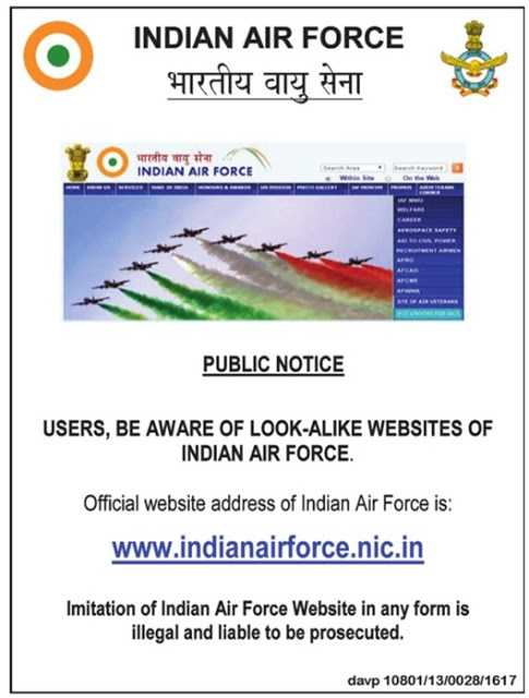 Indian Air Force Warning against phishing websites