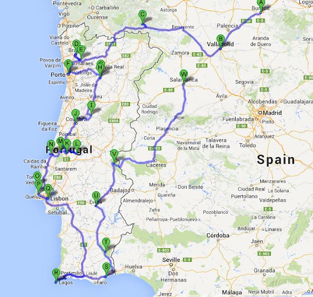 Route van Slakopreis met de camper door Portugal