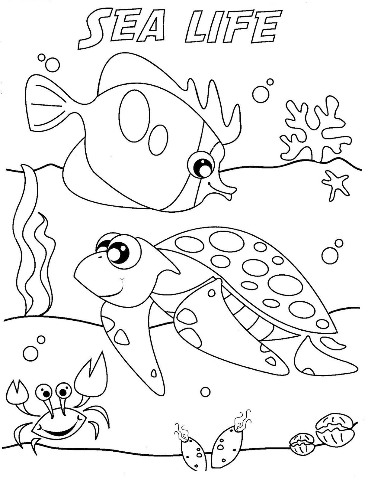 Free under the sea coloring pages to print for kids for Sea animals coloring pages
