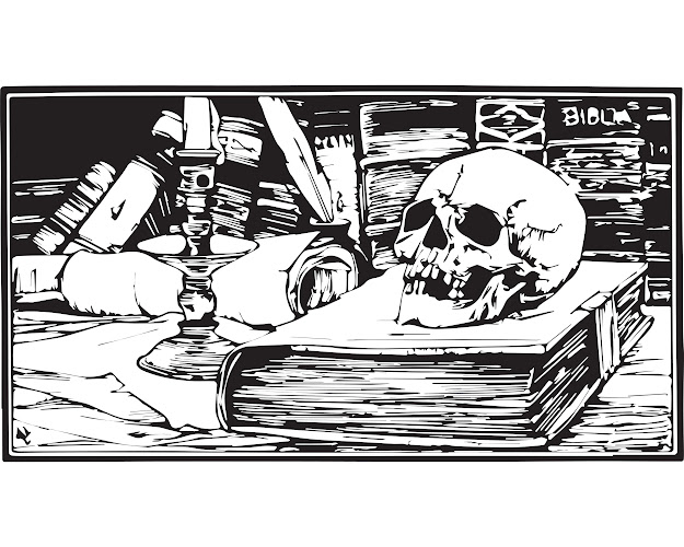 Free Skull Books And Candle Halloween Adult Coloring Page