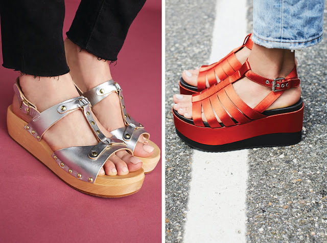 Минималистские сандалии на платформе серебристого и красного цвета