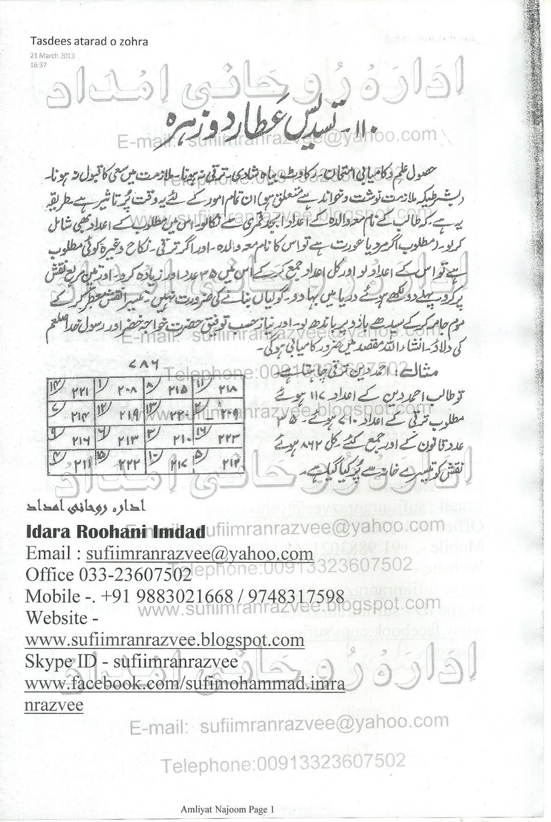 حصولِ علم اورکامیابی امتحان کے لئے تسدیس عطارد و زہرہ کا