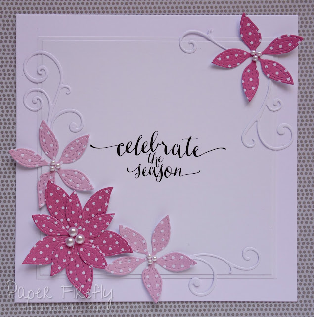CAS Christmas card with pink poinsettias (Memory Box dies)