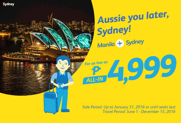 Cebu Pacific Manila to Sydney P2999 All-In Promo
