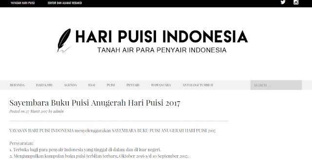 Sayembara Buku Puisi Anugerah Hari Puisi 2017