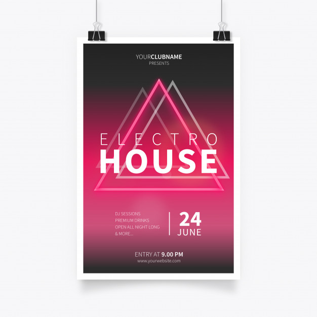 Electro House Music Poster Free Vector