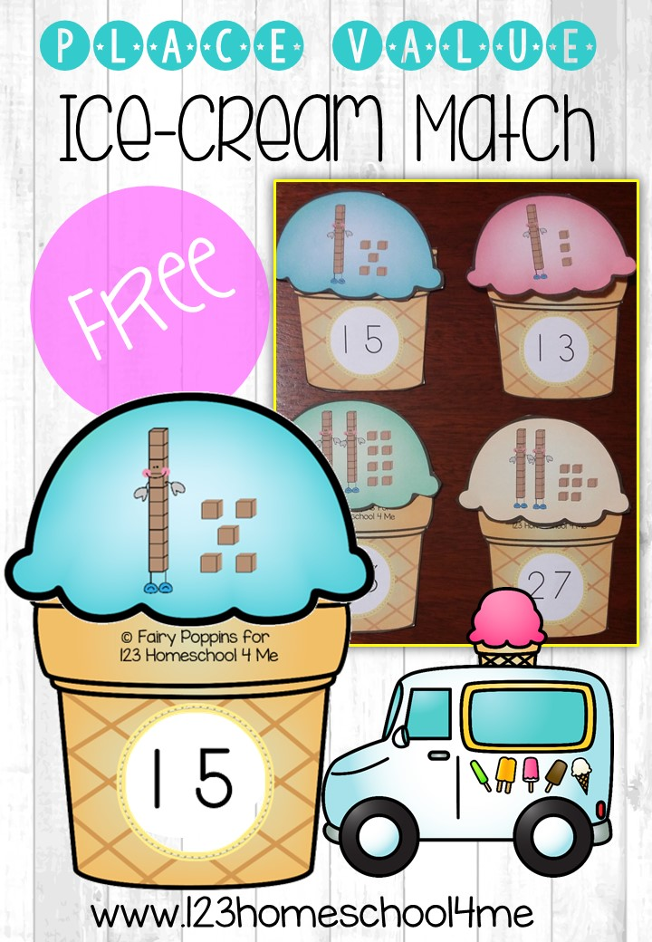 Place Value Ice Cream Match – Place Value Worksheets for First Grade