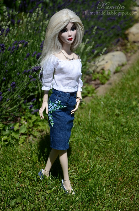 White blouse and denim skirt for Evangeline.