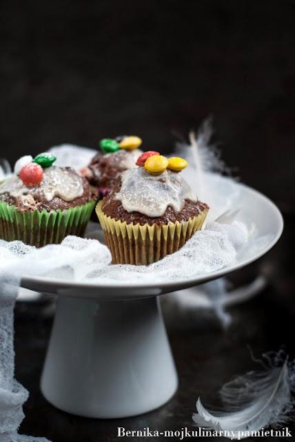 muffinki, banan, m&ms, bernika, kulinarny pamietnik, deser, pieczenie, babeczki