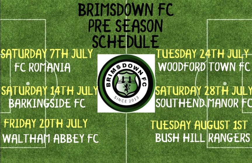 The Cold End BRIMSDOWN FC PRE-SEASON SCHEDULE ANNOUNCED - BUSH HILL - how to make a league schedule
