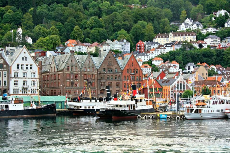 Casco viejo de Bergen en perspectiva.