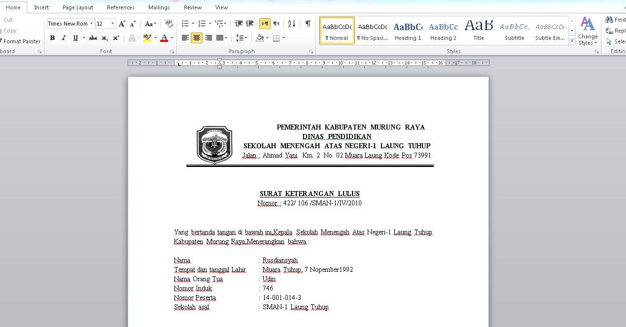 Contoh Surat Keterangan Lulus Sementara Sd Smp Sma Doc Contoh
