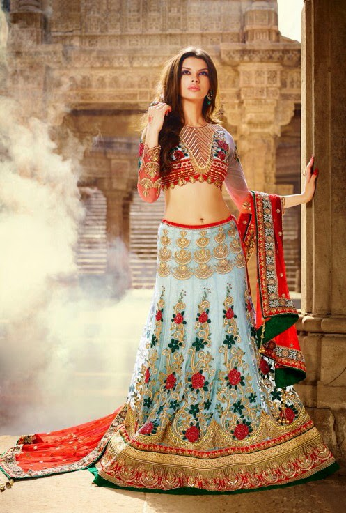 Light Blue Net Lehenga With Maroon Net Dupatta & Heavy Zari & Resham Work