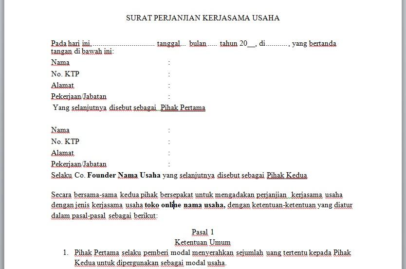 Contoh Surat Perjanjian Modal Usaha