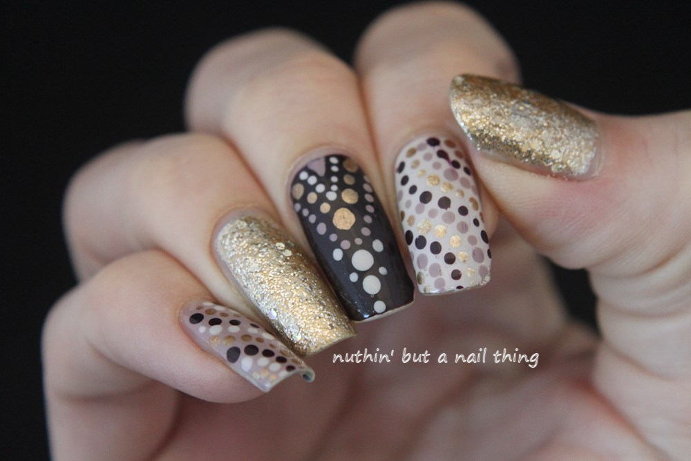 nuthin\' but a nail thing: Intricate gold polka dot nail art