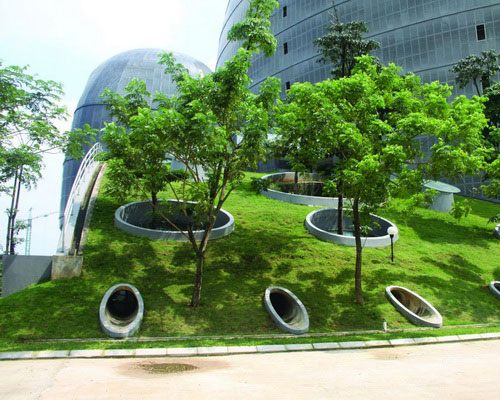 New Media Tower cocoon double facade tropical energy efficient buildings