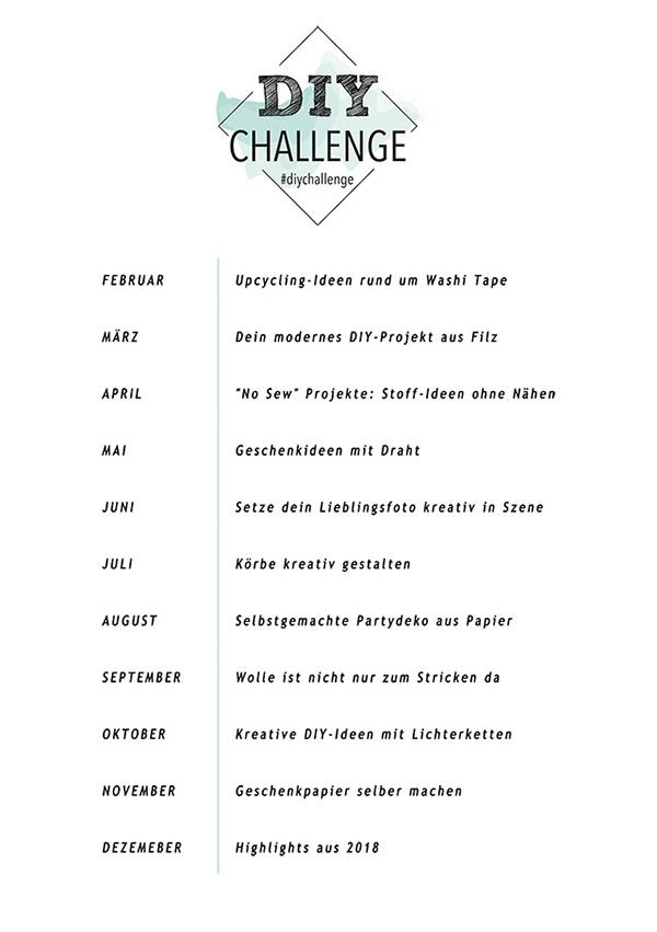 Themen der DIY Challenge. Kreative Ideen zum Selbermachen. Titatoni.de