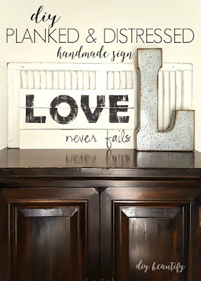 Create a perfectly weathered sign from wood planks! Tutorial at diy beautify.