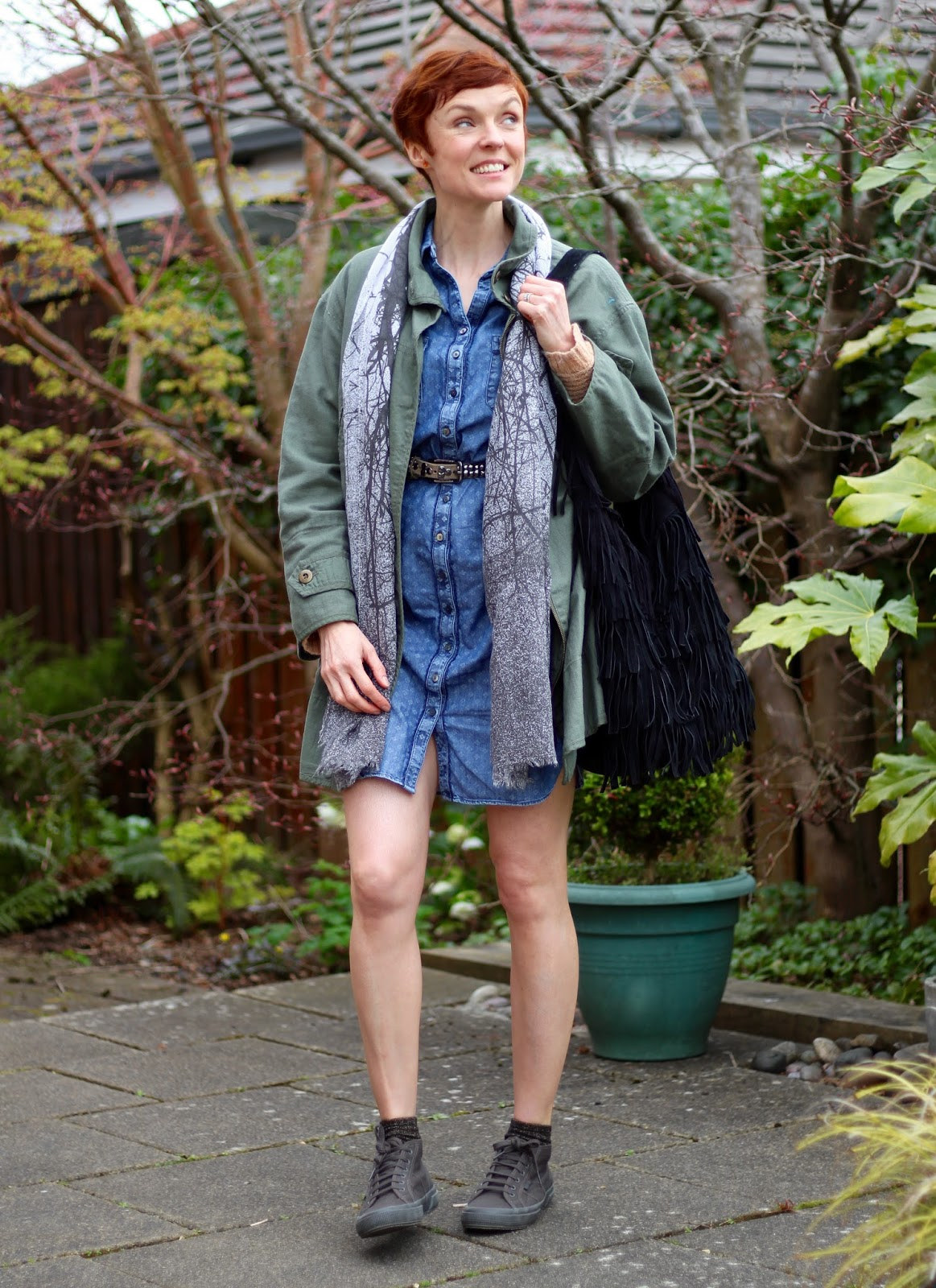 M&S Denim Shirt Dress, Zara Khaki Jacket, Superga's & Topshop Fringed Bag | Over 40 | Fake Fabulous