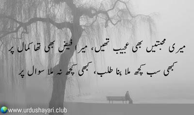 """Meri """"Muhabbatain"""" Bhi Ajeeb Thi, Mera Faiz Bhi Tha Kamal Per..  Kabhi Sub Kuch Mila Bina Matlab, Kabhi Kuch Na Mila Sawal Per..!!  #shayari #poetry #heartless"""