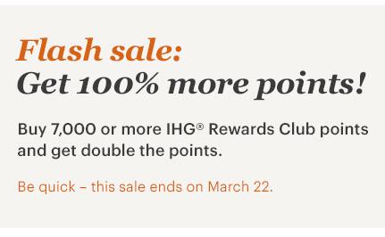 IHG洲際酒店Buy Points買分閃促~贈送100%獎勵(2019/3/22截止)