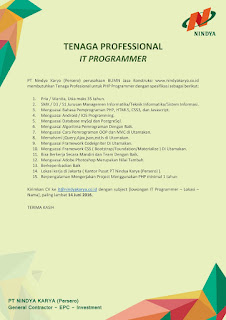Karir BUMN PT. NINDYA KARYA (Persero) Terbaru