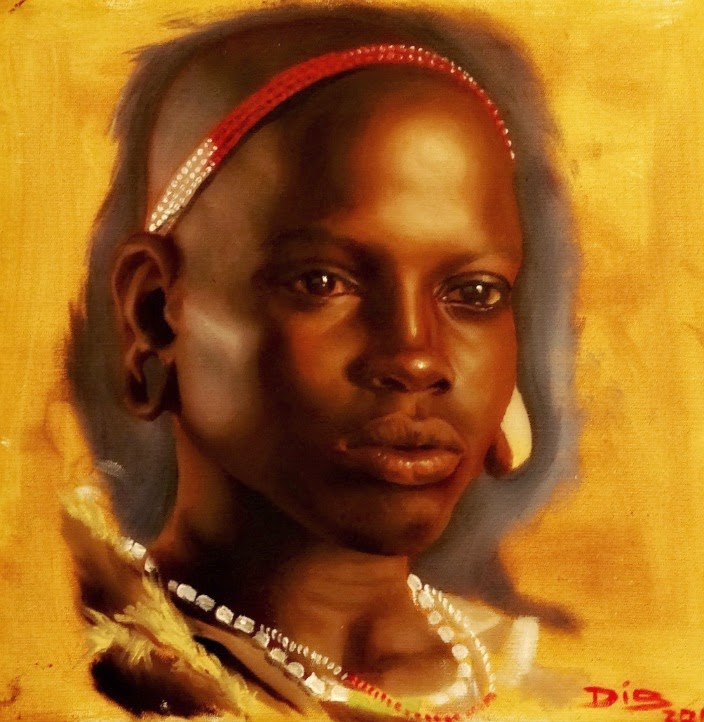 Quadro de Mulher Africana na Casa de Cultura Dide Brandão, em Itajaí