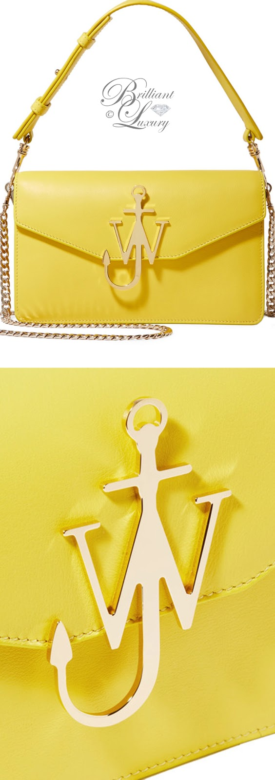 Brilliant Luxury ♦ J.W.Anderson logo yellow leather shoulder bag