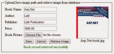 Upload image in  folder, Save image path in sql server database and retrieve and display using asp.net and