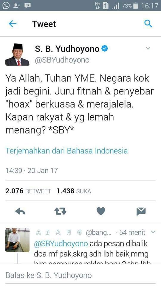 """SBY: Ya Allah, Juru Fitnah & Penyebar """"Hoax"""" Berkuasa, Kapan Rakyat & Yang Lemah Menang?"""