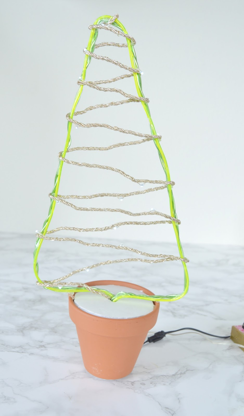 ... The Wired Ribbon Cord Together. Use Glue Dots Or Hot Glue On The Sides  And Wrap Them All Around In A Zig Zag Manner Covering The Christmas Tree  Shape.