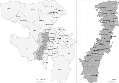 mapa politico distrito metropolitano quito