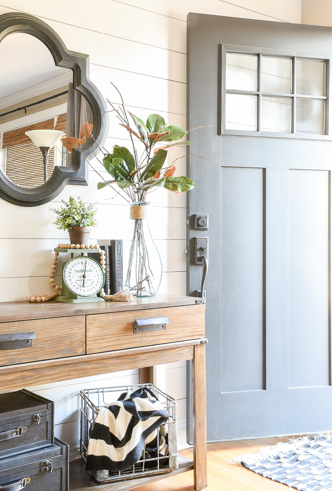 Modern Farmhouse entryway with DIY aged Terra Cotta pots.