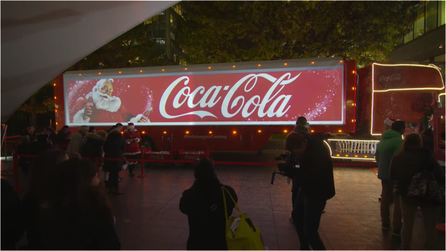 CocaCola Christmas Truck Tour Santa Projection