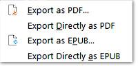 Export As, What is Export As, Export ePub, Export as ePub, Export pdf, Export Direcly Pdf, Export directly ePub File