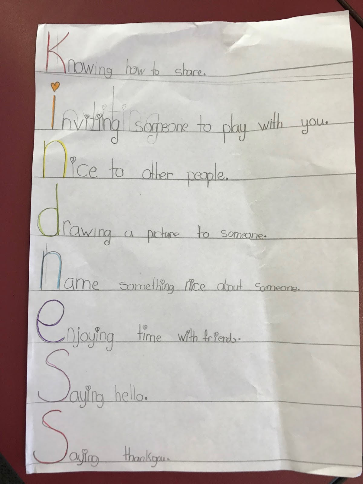 Room 9 2017 Kindness Acrostic Poems