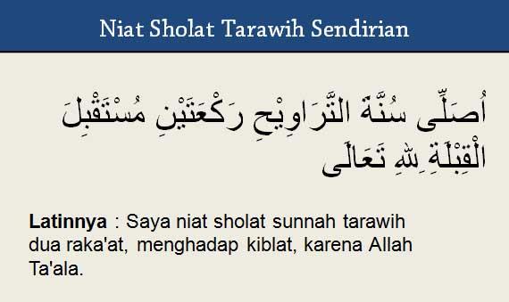 Niat sholat tarawih sendirian