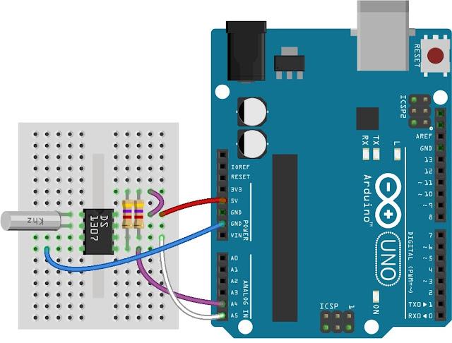 Antarmuka papan Arduino UNO dengan IC RTC DS1307