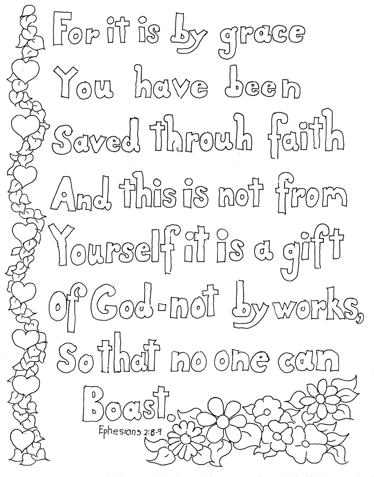 coloring pages for kids by mr adron ephesians 2 8 9 print and