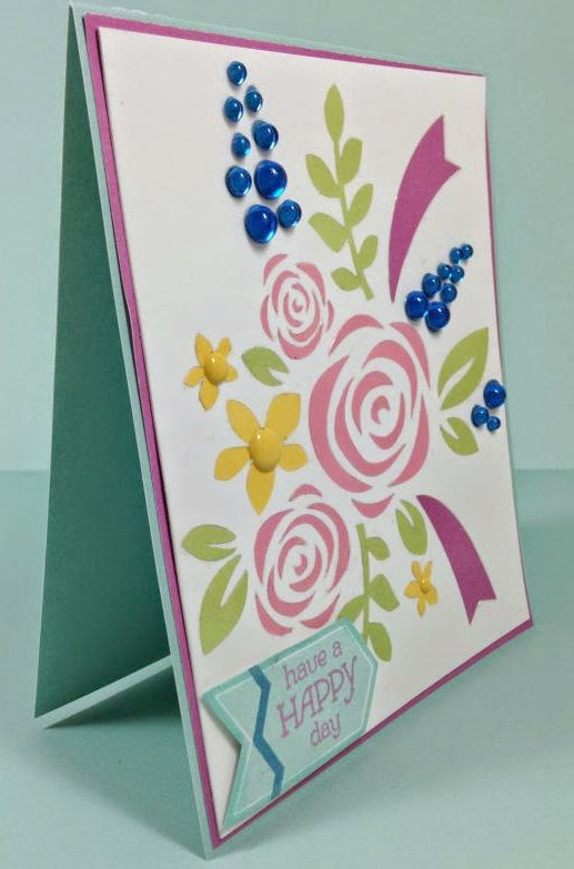 Close To My Heart Artfully Sent Cricut cartridge Floral Bouquet card sideview