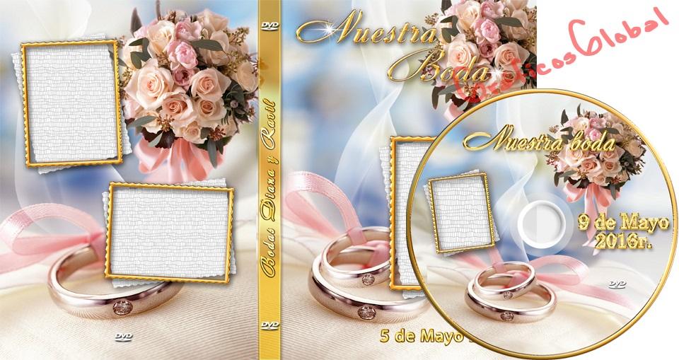 Portada DVD con diseño de anillos y rosas plantillas psd