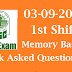 SSC CGL Tier-1 1st/ Morning Shift 3-Sept-2016 GK  Asked Questions