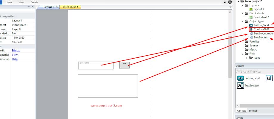 Tmplate Cordova plugin sms construct 2