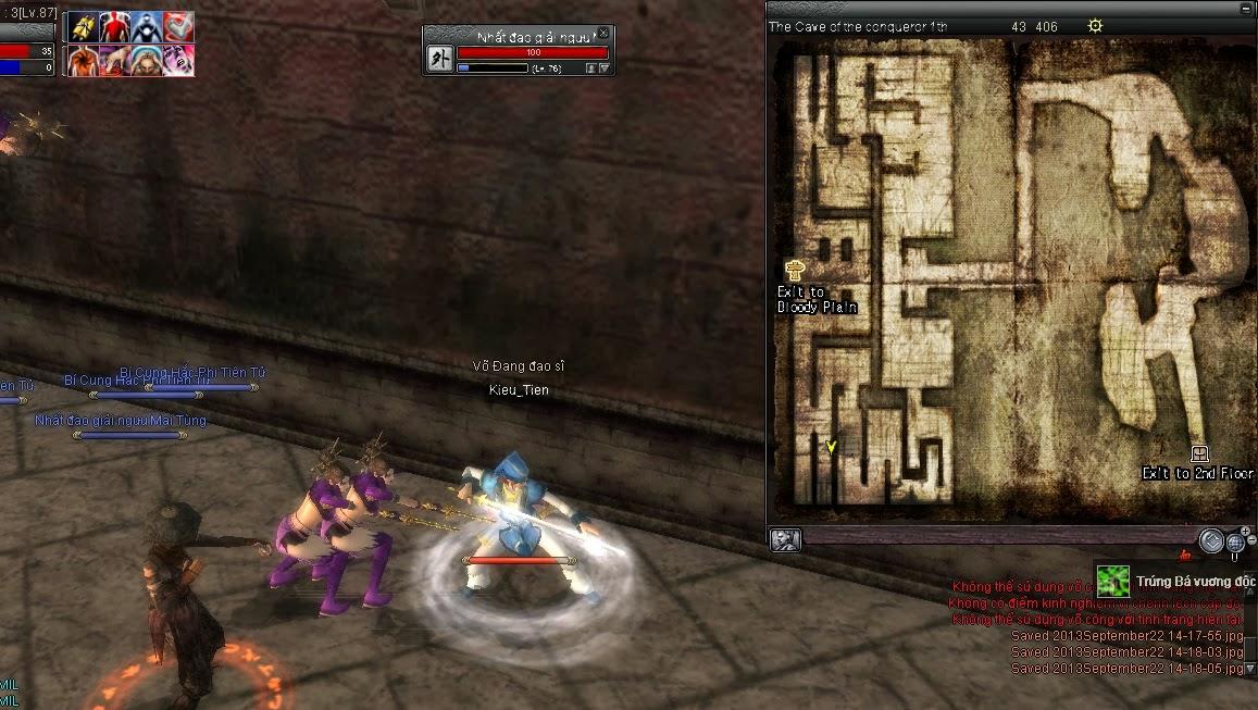 Tìm Nhất đao giải ngưu Mai Tùng ở tầng 1 Bá Vương Động vị trí 43 406 , kill  nó rồi chạy tới gặp Huỳnh Vân Tử phái Võ Đang