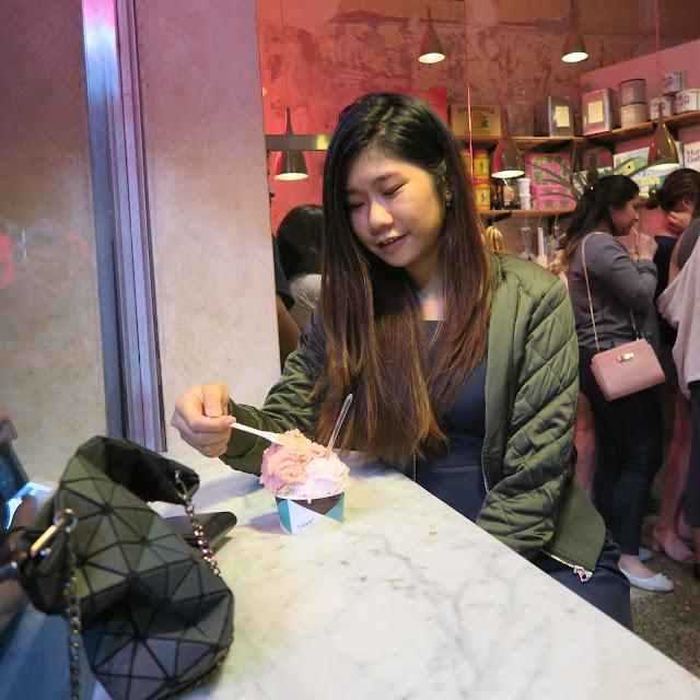 Angie eating Pidapipo ice cream, Lyon Street, Melbourne, Australia