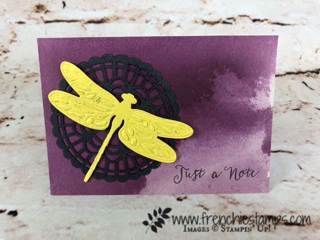 Embossing Mats, Tip Video with Frenchie Stamps, Delightfully Detailed Note Cards,  Pearlized Doilies,   Detailed Dragonfly, Flourish thinlits, Stampin'Up!