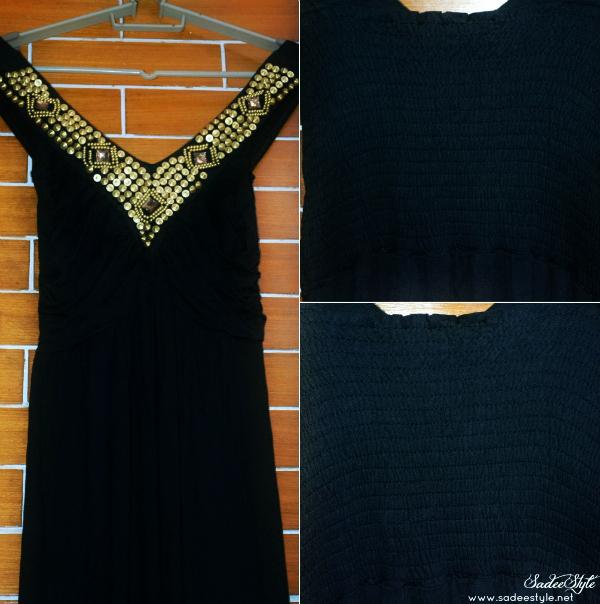 Black Gold Beads Wrinkle V-neck Sleeveless Cotton Dress