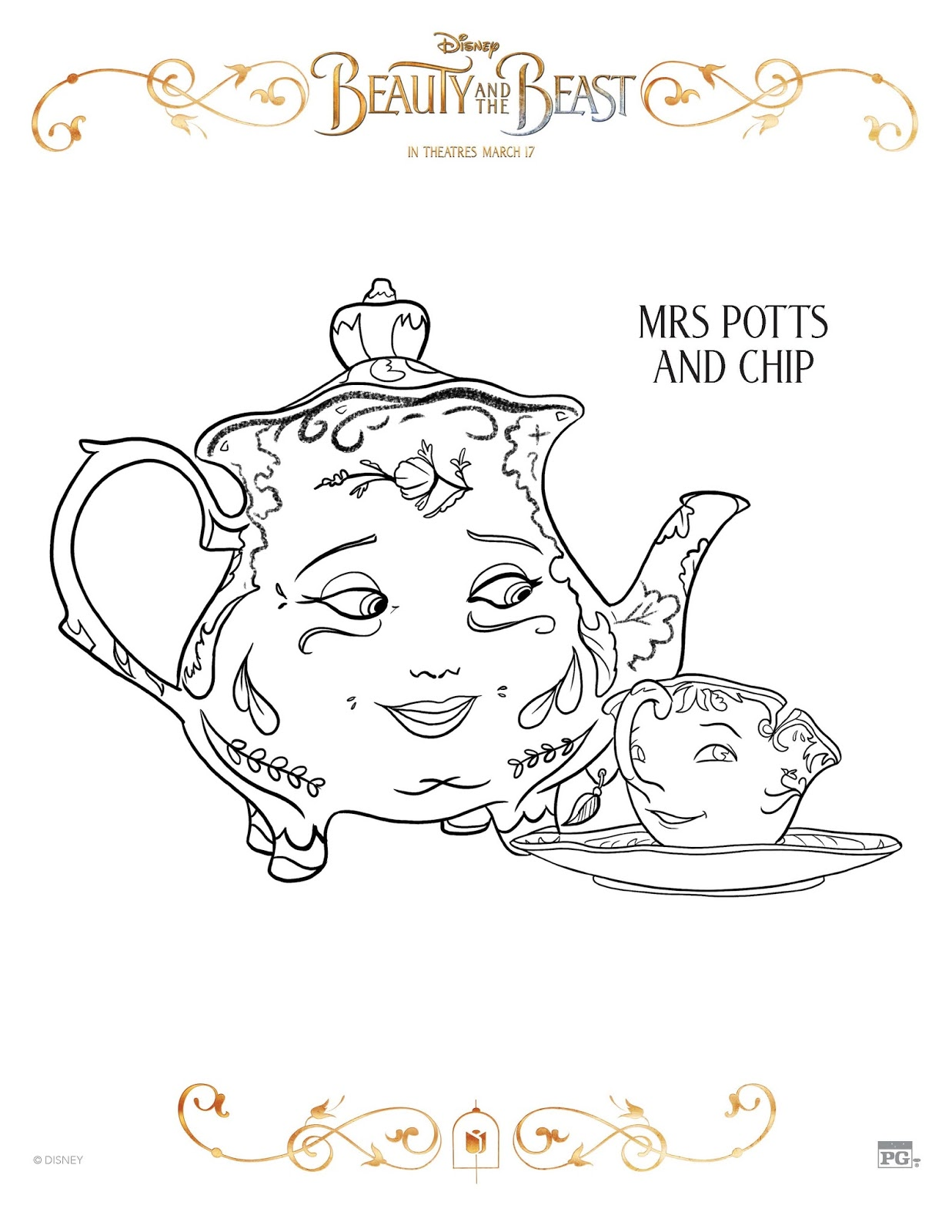 10 free beauty and the beast coloring sheets any tots
