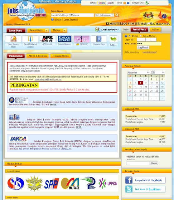 panduan cara mendaftar sebagai pencari kerja di portal JobsMalaysia.gov.my.